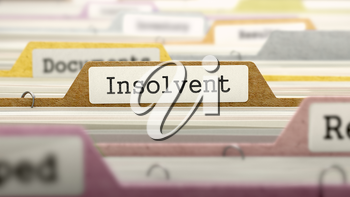 Insolvent Concept. Colored Document Folders Sorted for Catalog. Closeup View. Selective Focus. 3D Render.