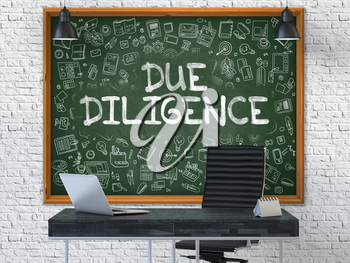 Hand Drawn Due Diligence on Green Chalkboard. Modern Office Interior. White Brick Wall Background. Business Concept with Doodle Style Elements. 3D.