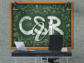 CSR- Corporate Social Responsibility - Handwritten Inscription by Chalk on Green Chalkboard with Doodle Icons Around. Business Concept in the Interior on the Gray Concrete Wall Background. 3D.