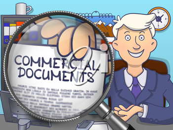 Commercial Documents on Paper in Man's Hand to Illustrate a Business Concept. Closeup View through Magnifier. Colored Modern Line Illustration in Doodle Style.