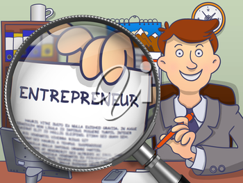 Entrepreneur through Magnifying Glass. Man Holds Out a Paper with Concept. Closeup View. Multicolor Doodle Illustration.