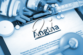 Angina, Medical Concept with Selective Focus. Angina - Printed Diagnosis with Blurred Text. 3D Render.