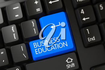 Modernized Keyboard with Hot Button for Business Education. Blue Business Education Key on Keyboard. Business Education Close Up of Black Keyboard on a Modern Laptop. 3D Illustration.