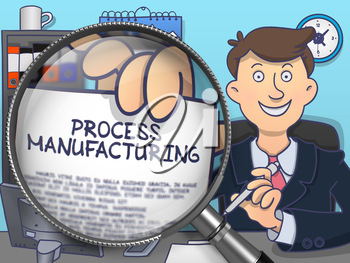 Business Man in Suit Shows Paper with Process Manufacturing Concept through Magnifying Glass. Closeup View. Multicolor Doodle Style Illustration.