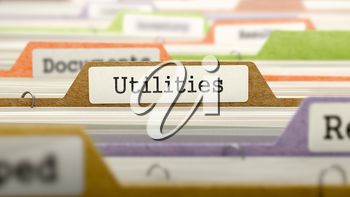 Utilities Concept. Colored Document Folders Sorted for Catalog. Closeup View. Selective Focus. 3D Render.