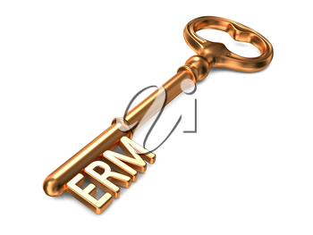 ERM - Enterprise Risk Management or Enterprise Relationship Management - Golden Key on White Background. Business Concept.