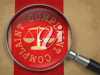 Magnifying Glass with Complaint Word Written Arround Icon of Scales in Balance on Old Paper with Red Vertical Line Background.
