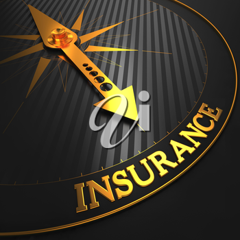 Insurance - Business Background. Golden Compass Needle on a Black Field Pointing to the Insurance Word.