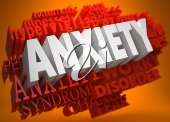 Anxiety - the Word in White Color on Cloud of Red Words on Orange Background.