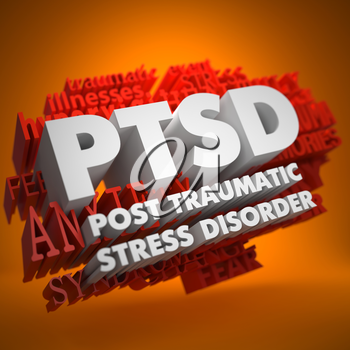 PTSD - Posttraumatic Stress Disorder - the Words in White Color on Cloud of Red Words on Orange Background.