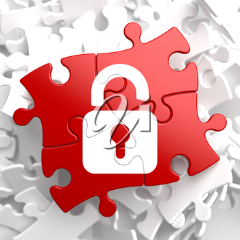 Security Concept - Icon of Opened Padlock - Located on Red Puzzle.