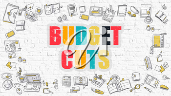 Budget Cuts Concept. Modern Line Style Illustration. Multicolor Budget Cuts Drawn on White Brick Wall. Doodle Icons. Doodle Design Style of  Budget Cuts Concept.