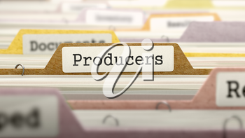 Producers on Business Folder in Multicolor Card Index. Closeup View. Blurred Image. 3D Render.