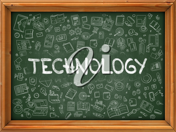 Technology Concept. Modern Line Style Illustration. Technology Handwritten on Green Chalkboard with Doodle Icons Around. Doodle Design Style of Technology Concept.