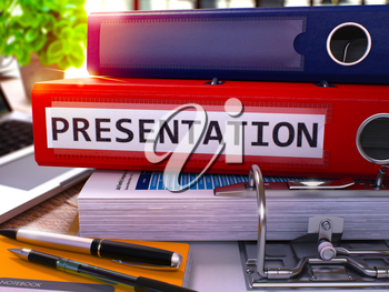 Presentation - Red Office Folder on Background of Working Table with Stationery and Laptop. Presentation Business Concept on Blurred Background. Presentation Toned Image. 3D.
