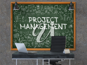 Project Management - Handwritten Inscription by Chalk on Green Chalkboard with Doodle Icons Around. Business Concept in the Interior of a Modern Office on the Dark Old Concrete Wall Background. 3D.