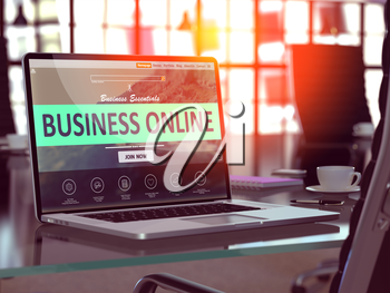 Business Online Concept. Closeup Landing Page on Laptop Screen  on background of Comfortable Working Place in Modern Office. Blurred, Toned Image. 3D Render.
