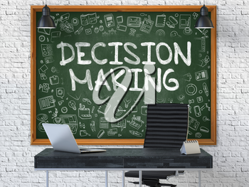 Green Chalkboard with the text Decision Making Hangs on the White Brick Wall in the Interior of a Modern Office. Illustration with Doodle Style Elements. 3D.