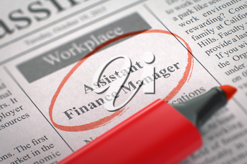 Assistant Finance Manager. Newspaper with the Vacancy, Circled with a Red Marker. Blurred Image. Selective focus. Concept of Recruitment. 3D Render.