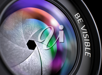 Be Visible - Concept on Lens of Digital Camera with Colored Lens Reflection, Closeup. Be Visible Concept. Closeup Camera Lens with Pink and Orange Reflection. Black Background. 3D Render.
