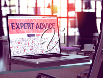 Expert Advice Concept - Closeup on Landing Page of Laptop Screen in Modern Office Workplace. Toned Image with Selective Focus. 3D Render.