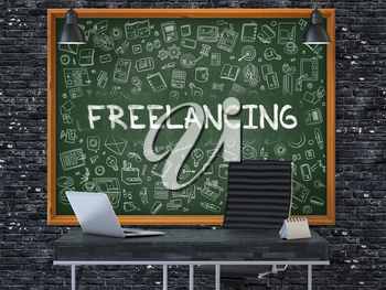 Green Chalkboard on the Dark Brick Wall in the Interior of a Modern Office with Hand Drawn Freelancing. Business Concept with Doodle Style Elements. 3D.