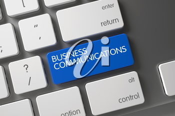 Computer Keyboard Button Labeled Business Communications. Business Communications Concept Modern Keyboard with Business Communications on Blue Enter Button Background, Selected Focus. 3D Render.