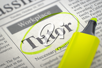 Tutor - Job Vacancy in Newspaper, Circled with a Yellow Highlighter. Blurred Image with Selective focus. Hiring Concept. 3D Illustration.