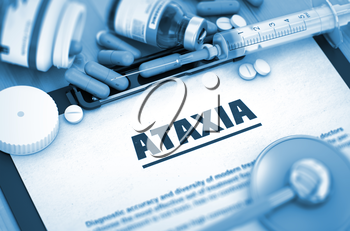 Ataxia - Medical Report with Composition of Medicaments - Pills, Injections and Syringe. Ataxia, Medical Concept with Pills, Injections and Syringe. 3D.