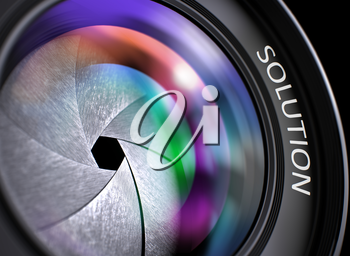 Solution on Lens of Camera. Colorful Lens Flares. Selective Focus with Shallow Depth of Field. Colored Lens Reflections Closeup on Lens of Camera with Inscription Solution. 3D Render.