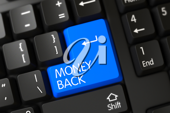 Computer Keyboard with the words Money Back on Blue Keypad. PC Keyboard with Hot Key for Money Back. A Keyboard with Blue Keypad - Money Back. 3D Render.