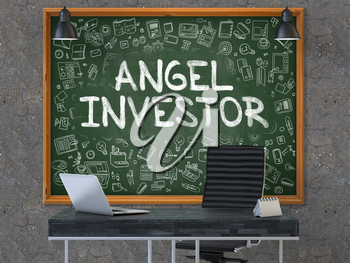 Green Chalkboard with the Text Angel Investor Hangs on the Dark Old Concrete Wall in the Interior of a Modern Office. Illustration with Doodle Style Elements. 3D.