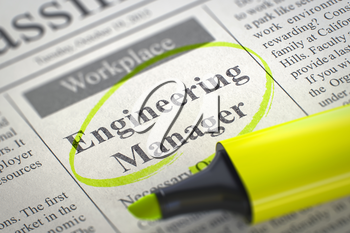 A Newspaper Column in the Classifieds with the Job Vacancy of Engineering Manager, Circled with a Yellow Marker. Blurred Image with Selective focus. Concept of Recruitment. 3D Rendering.