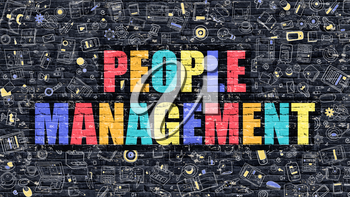 People Management Concept. People Management Drawn on Dark Wall. People Management in Multicolor. People Management Concept. Modern Illustration in Doodle Design of People Management.
