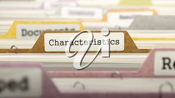 Characteristics on Business Folder in Multicolor Card Index. Closeup View. Blurred Image. 3D Render.