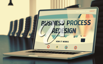 Business Process Redesign. Modern Meeting Room with Laptop Showing Landing Page with Text Business Process Redesign. Closeup View. Toned Image. Blurred Background. 3D Rendering.