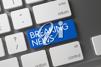 Breaking News on Laptop Keyboard Background. Computer Keyboard with the words Breaking News on Blue Button. Blue Breaking News Button on Keyboard. 3D Render.
