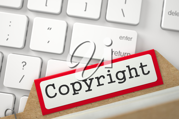 Copyright. Red Folder Register on Background of Computer Keyboard. Archive Concept. Closeup View. Blurred Image. 3D Rendering.