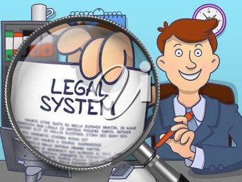 Legal System through Magnifier. Businessman Sitting in Office and Holding Paper with Inscription. Multicolor Doodle Illustration.