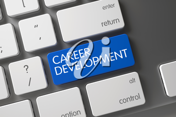 Career Development Keypad. Keyboard with Blue Key - Career Development. Computer Keyboard with Hot Button for Career Development. Career Development on Modernized Keyboard Background. 3D Render.