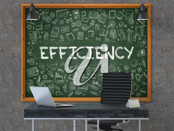 Green Chalkboard with the Text Efficiency Hangs on the Dark Old Concrete Wall in the Interior of a Modern Office. Illustration with Doodle Style Elements. 3D.