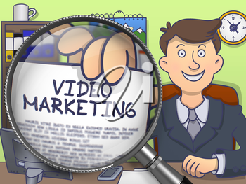 Video Marketing through Lens. Officeman Showing a Paper with Text. Closeup View. Colored Doodle Illustration.