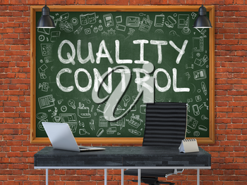 Quality Control - Hand Drawn on Green Chalkboard in Modern Office Workplace. Illustration with Doodle Design Elements. 3D.