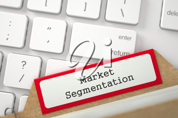 Market Segmentation. Red Card File Concept on Background of Modern Keyboard. Archive Concept. Closeup View. Selective Focus. 3D Rendering.