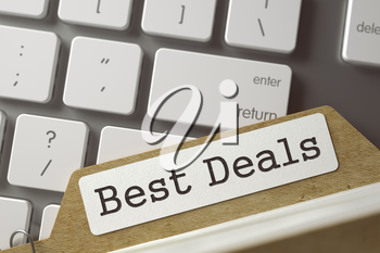 Best Deals. Card Index on Background of White PC Keyboard. Business Concept. Closeup View. Blurred Toned Image. 3D Rendering.