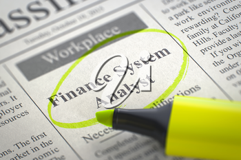Finance System Analyst - Jobs Section Vacancy in Newspaper, Circled with a Yellow Marker. Blurred Image with Selective focus. Job Seeking Concept. 3D.