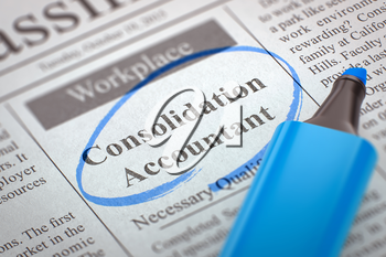Consolidation Accountant. Newspaper with the Small Advertising, Circled with a Blue Highlighter. Blurred Image with Selective focus. Job Seeking Concept. 3D Render.