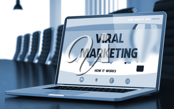 Viral Marketing - Landing Page with Inscription on Laptop Screen on Background of Comfortable Conference Room in Modern Office. Closeup View. Toned Image. Blurred Background. 3D Render.