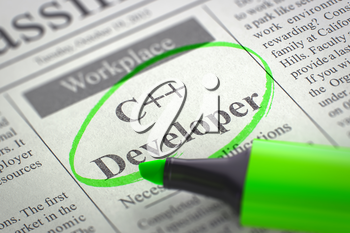 A Newspaper Column in the Classifieds with the Vacancy of C Developer, Circled with a Green Marker. Blurred Image. Selective focus. Job Search Concept. 3D Illustration.
