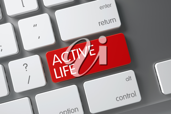 Active Life Concept White Keyboard with Active Life on Red Enter Button Background, Selected Focus. 3D Render.